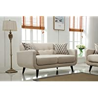 Roundhill Furniture Modibella Contemporary Living Room Loveseat, Tan