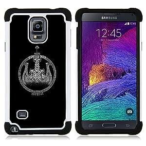 - black Viking ship wreath black white - - Doble capa caja de la armadura Defender FOR Samsung Galaxy Note 4 SM-N910 N910 RetroCandy