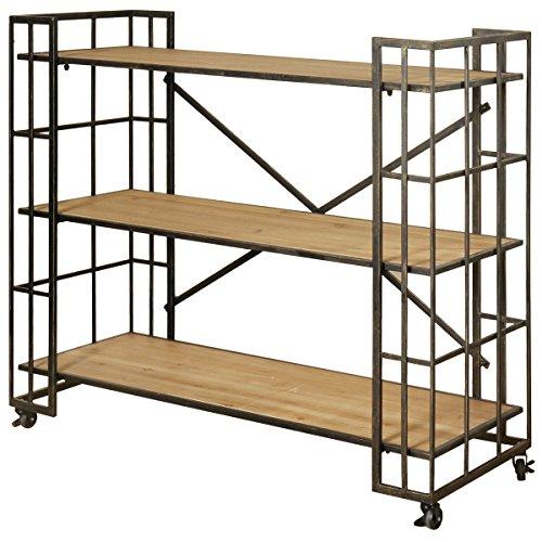 Collective Design 720354123186 Industrial Styled 3-Shelf Locking Wheels-Dark Bronze Finish Bookcase Brown