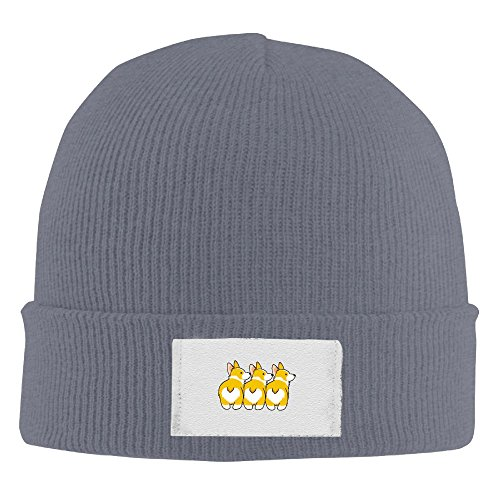 Funny Corgi Heart Butts Elastic Rib Knit Beanie Hats Asphalt