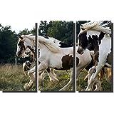 quadro cavalos branco com preto decorativo kit 3 peças