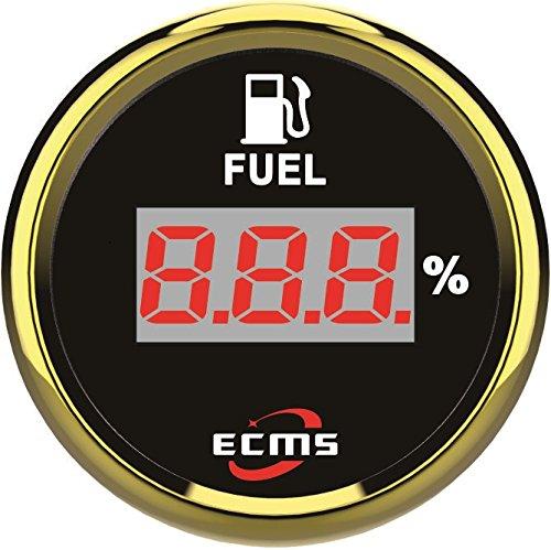 (ECMS Marine Boat Yacht Automotive Fuel Level Gauge 0-190Ω 0-100% 9-32V 52m 316L Golden Bezel Black Dial 800-00123)