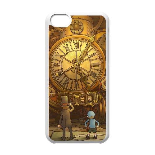 K7W17 Professeur Layton et la Boîte de Pandore I7B0LC cas d'coque iPhone de téléphone cellulaire 5c couvercle coque blanche RX1TXT0QM