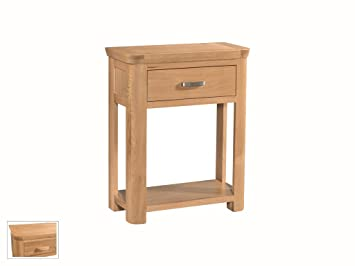 Bevel Natural Solid Oak Small Console Table Telephone Hall Table