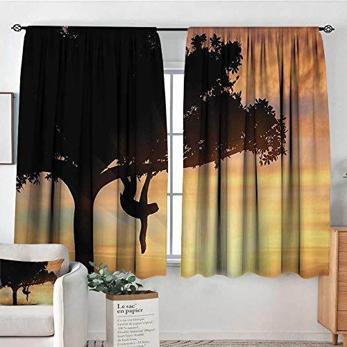 (Mozenou Sloth Room Darkening Curtains Sunset View at Nature Reserve Exotic Animal Hangs on Big Tree Fauna Jungle Thermal Blackout Curtains 55