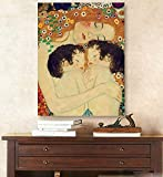 Hand-Painted Master Quality Oil Painting Gustav Klimt Famous Reproduction Mother and Child Twins Canvas Oil Painting Wall Art Portrait of Artwork