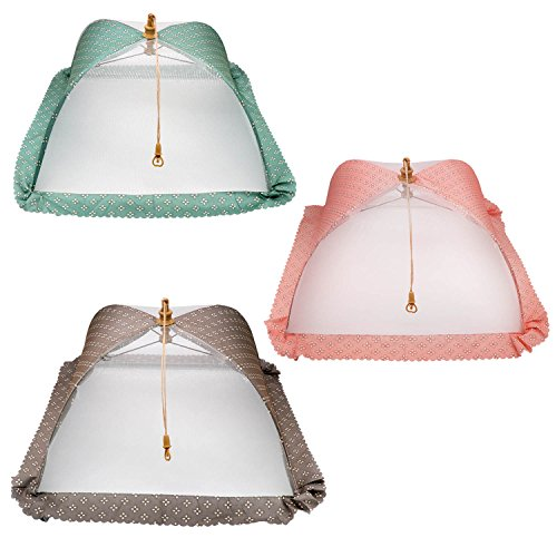 (3 Pack) Esfun Large Premium Quality Food Covers Nets for Outdoors & Picnics,17 inch,Reusable and Collapsible Pop-up Mesh Screen Food Covers Umbrella Keep Out Flies, Bugs, Mosquitoes