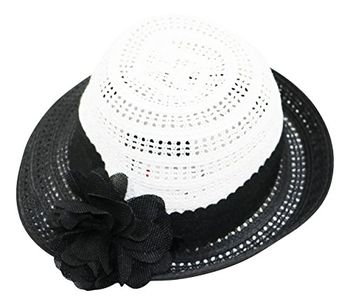 Nine West Packable UPF 50+ Flower Pin Cloche Hat (White/Black, One (White Hat Pin)