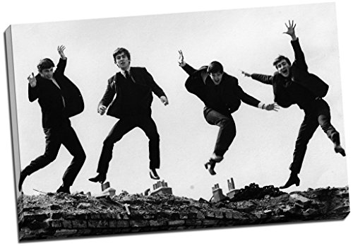 Panther Print Black & White The Beatles Jumping Canvas Print Picture Wall Art Large 30X20 Inches (76.2Cm X 50.8Cm)
