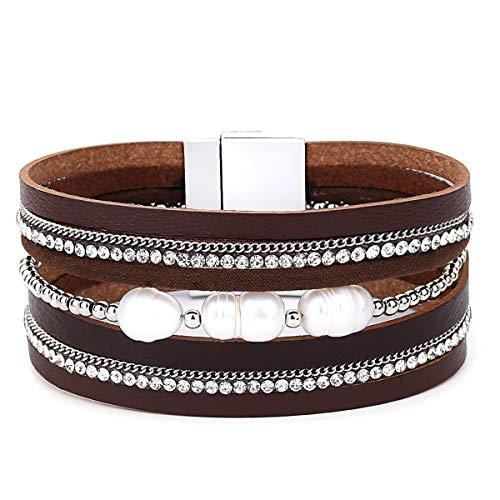 Womens Leather Cuff Bracelet - Braided Wrap Bangle Handmade Multi Layer Jewelry - with Alloy Magnetic Clasp - Bohemian Gift for Women, Mother,Girls ((Pearls)-Brown)