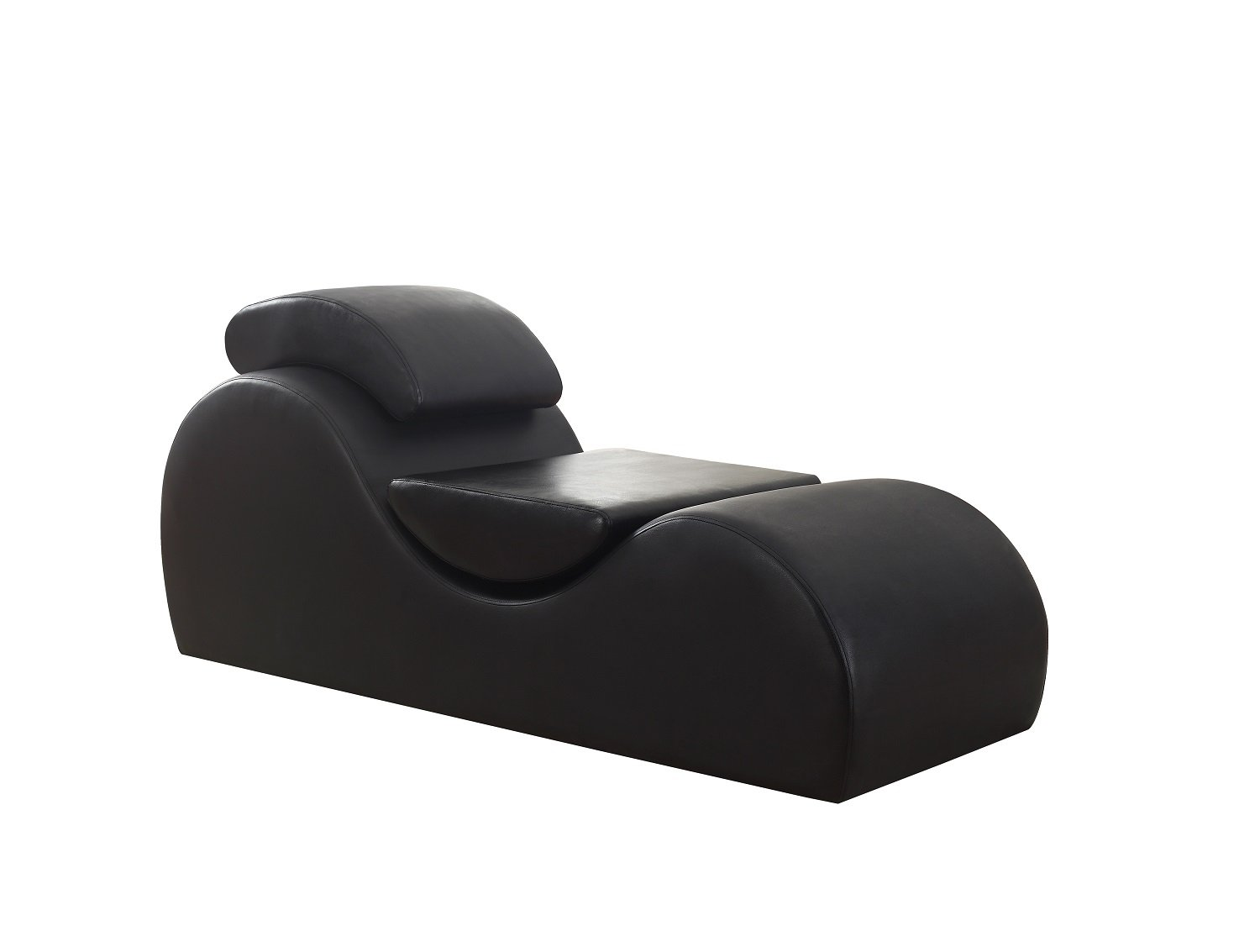 US Pride Furniture Modern Faux Leather Upholstered Relaxation Stretch Chaise and Yoga Chair Black by US Pride Furniture