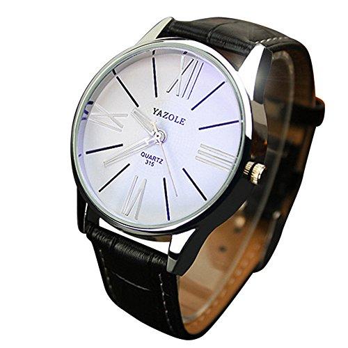 Clearance!!! Fashion Elegant Mens Watch Quartz Analog Business Leisure Wristwatch Brown Band White Dial (Black 2)