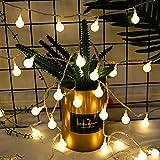 ZIMINGU USB Globe String Light, LED Ball Light Christmas Tree Lights Durable Hanging Indoor Outdoor Starry Lights for Home Garden Christmas Tree Parties Wedding Decor 6M/19.6FT