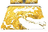 Kess InHouse KESS Original Gold Ink on Water White Metal Twin Cotton Duvet Cover, 68 by 88-Inch