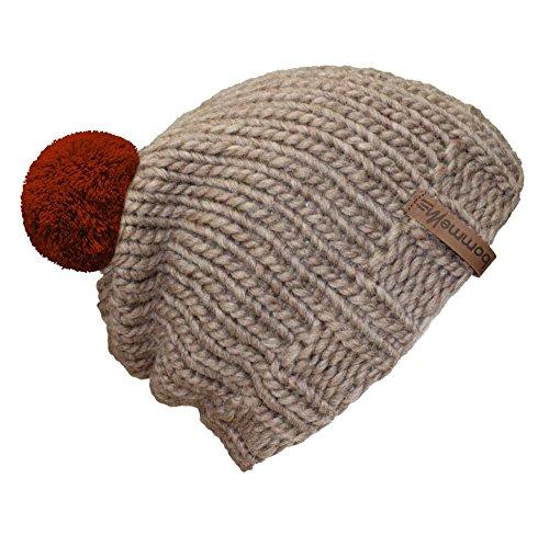 Rust Mujer Pom Gorro Bommelme Hat Punto Sand Para Red De Iq68vIwPx