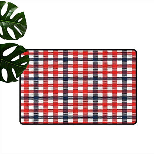 DONEECKL Bedroom Doormat Vintage Checkered Gingham Plaid Non-Slip Door mat pad Machine can be Washed W24 xL35 ()