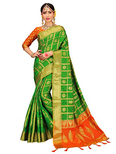 for Women Patola Silk Woven Work Saree, Indian Sari (Green (Kanchipuram Sarees)