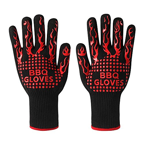 BBQ Gloves, Grill Gloves Oven Gloves 932°F Extreme Heat Resistant Gloves Heavy Duty Grill Cooking Gloves for Men, Women, Outdoor, Barbecue (Black/Red) ()