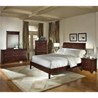 Roundhill Furniture Le Charmel Solid Wood Low Profile Bed, Queen, Rich Cherry Finish