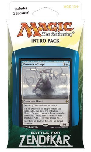 Magic the Gathering: MTG Battle for Zendikar: Intro Pack / Theme Deck: Drowner of Hope (includes 2 Booster Packs & Alternate Art Premium Rare Promo) Blue