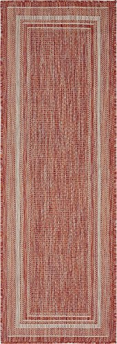 Border Red Area Rugs (Unique Loom Outdoor Collection Rust Red 2 x 6 Runner Area Rug (2' x 6'))