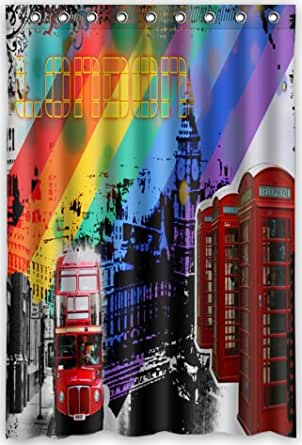 48 x72 inches red double decker bus london bus and red telephone booth shower. Black Bedroom Furniture Sets. Home Design Ideas