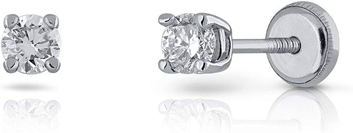 Pendientes de mujer oro blanco 18kts diseño garra con diamante 0.30 ct. medida 3.00 mm. cierre rosca de seguridad.