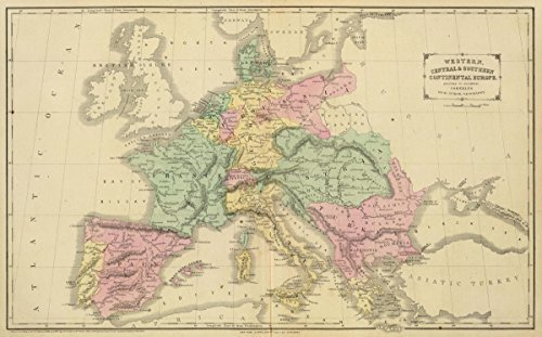 1864 School Atlas | Western, Central & Southern continental Europe. Designed to accompany Cornell's High school geography. | Antique Vintage Map Reprint - Cornell 1864 Antique Map