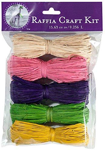 SuperMoss (40525) Raffia Craft Kit - Summer, Summer Time (Natural, Pink, Purple, Grass Green, Yellow), 16 cu In. (5 (Green Raffia Grass)