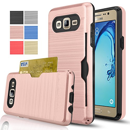 Samsung Galaxy On5 Case With HD Screen Protector,[Card Slots Holder][Not Wallet] Hard Plastic PC TPU Soft Hybrid Shockproof Heavy Duty Protective Holster Case For Samsung Galaxy On5/G550 KC2 Rose Gold