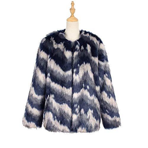 Giacca Corto Elegante Casual Moda Confortevole Blau Cute Chic Giubotto Colori Giaccone Imbottita Manica Pelliccia Di Misti Cappotto Invernali Lunga Donna paYgndxd