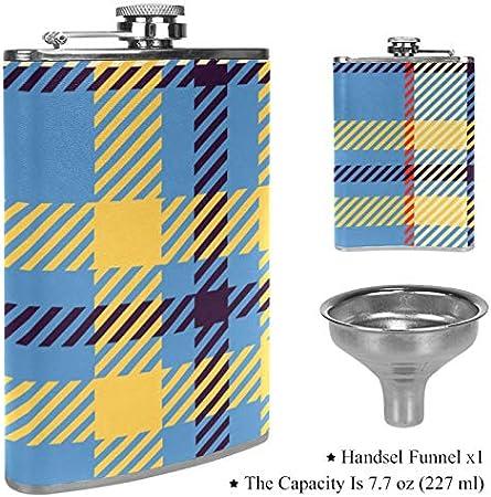 Petaca plana para licor, color azul, amarillo y naranja a cuadros, botella para bebidas alcohólicas al aire libre