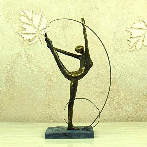 - DAJIADS Figurine Figurines Statue Statues Statuette Abstract Female Gymnast Statuette Resin Artistic Calisthenics Sculpture Iron Art Sport Award Decor Souvenir Gift Craft Adornment