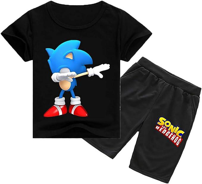 Shorts Silver Basic Boys Cartoon Sonic The Hedgehog Printed T-Shorts