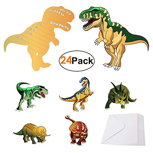 (Dinosaur-Party-Supplies-Invitations with Envelopes for Kids Boys Girls Birthday 24 Pack, Dino Invites Cards for Dinosaur Theme Party)