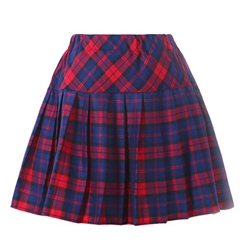 Genetic Girl's Double Layer Elasticated Pleat Skirt (M, Blue Red)
