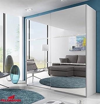 Schwebetürenschrank Kleiderschrank 541020 weiß mit Spiegel und ...