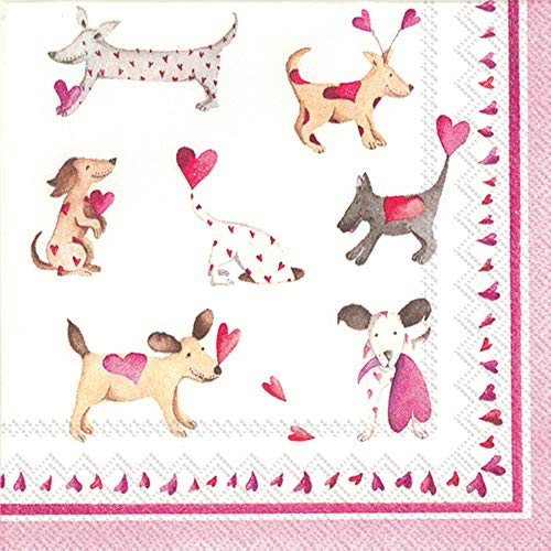 Ply Napkins Cocktail 3 (Boston International C808600 3-Ply Paper Cocktail Napkins, 20-Count, Love Heart Dogs)