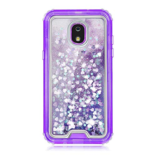 TurtleArmor | Compatible for Samsung Galaxy J7 (2018) Case | J737 | Fitted Dual Layer TPU Bumper Case with Flowing Liquid Waterfall Quicksand Glitter Sparkle Bling Hearts - Purple