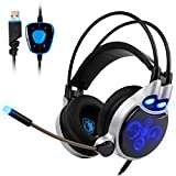 Sades R8 PC Gaming Headset Stereo 7.1 Surround Sound USB Wired Computer Headphones with Microphone Flexible,Volume Control Over Ear LED Lighting Noise Cancelling for Gamers,Black/blue