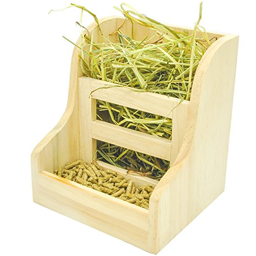 - Niteangel Grass and Food Double Use Feeder, Wooden Hay Manger for Rabbits, Guinea Pigs (7'' x 6.3'' x5.8'')