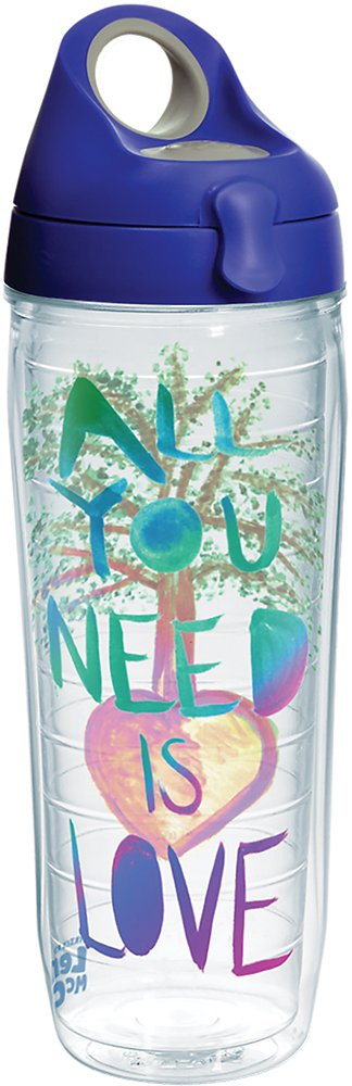 Tervis 1270595 Lyrics by Lennon /& McCartney All You Need Is Love Tumbler with Wrap and Blue with Gray Lid 24oz Water Bottle Clear
