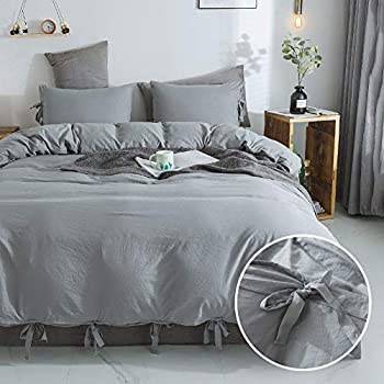 annadaif Giveuwant Washed Cotton Duvet Cover Queen(90x90 Inch), 3 Pieces (2 Pillowcase,1 Duvet Cover) Solid Grey Ultra Soft Bowknot Duvet Cover Set, Easy Care Bedding Set for Men, Women