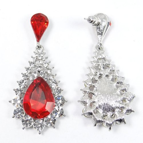 Teardrop Dangle Earrings Red Austrian Crystal Ruby Color Birthstone Silver-Tone N01260-6