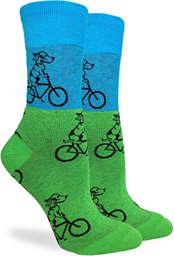 Good Luck Sock Women's Green Dog on Bike Crew Socks - Green, Adult Shoe Size 5-9