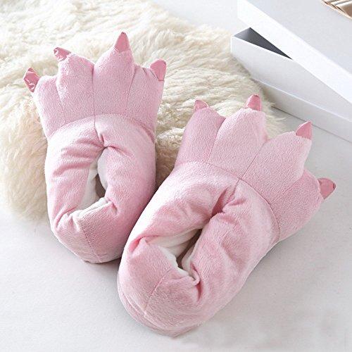 Honeystore Unisex Bequem Plüsch Hausschuhe Tier Kostüm Klaue Schuhe Pink