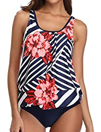 Blouson Tankini Swimsuits for Women Modest Bathing Suits Two Piece Loose Fit Swimwear