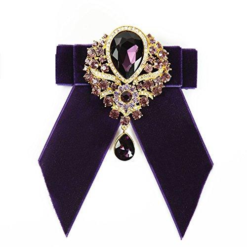 Men's Wedding 4colors Bow Tie cravat Rhinestone accessories Women Party necktie (Purple)]()