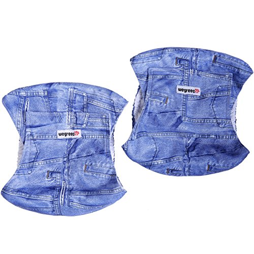 Image of Wegreeco Jeans Washable Male Dog Diapers (Pack of 2) - Washable Male Dog Belly Wrap (Large - 20