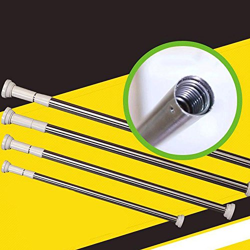 Chic Stainless Steel Shower Curtain Rod Balcony Rods Strut Telescopic Free Punch